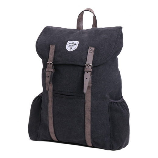 Vintage Canvas Backpack Adventurer Black