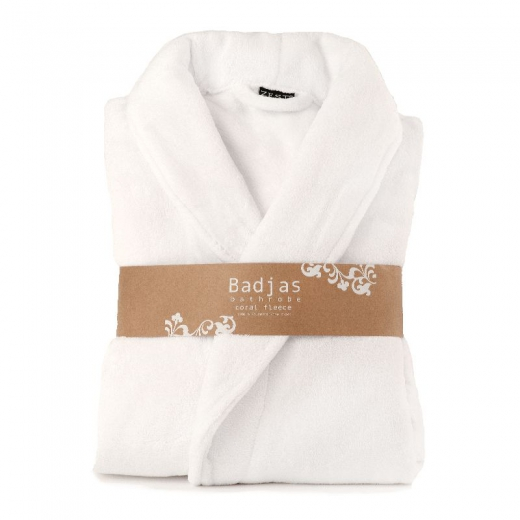 Badjas fleece relax wit