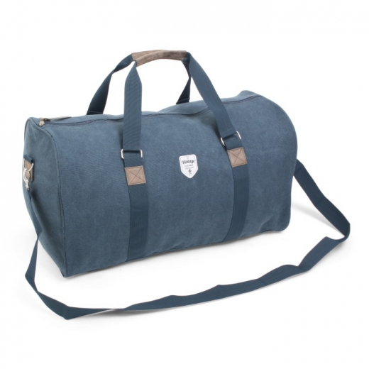 Vintage canvas weekendtas blauw