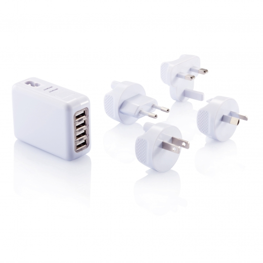 Travel plug with 4 USB ports, white