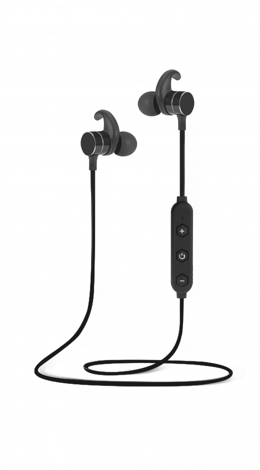 Bluetooth earphones met microfoon en volume. Met magneet (out)