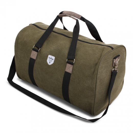 Vintage canvas weekendbag groen
