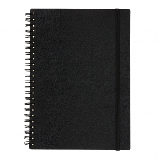A5 Deluxe spiral ring notebook, black
